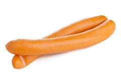 Pair of Vienna sausages on white Stock Photo