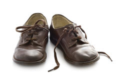 Pair of vintage child leather shoes Stock Photos