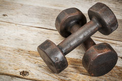 Vintage iron dumbbells Royalty Free Stock Images