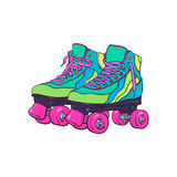 Pair of vintage, retro quad roller skates, sketch style illustration Royalty Free Stock Photography