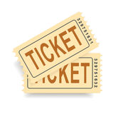A pair of vintage tickets with a tear line. No transparency. Ticket isolated illustration. Vector Stock Photos