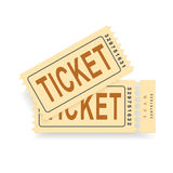 A pair of vintage tickets with a tear line and a tear part. No transparency. Ticket isolated illustration. Vector Royalty Free Stock Photography
