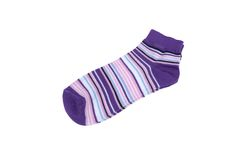 Pair Violet, Black, White and Pink Striped Ladies Socks Royalty Free Stock Photography