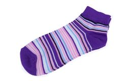 Pair Violet, Black, White and Pink Striped Ladies Socks Royalty Free Stock Photos