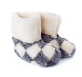 The Pair of Warm Cozy Boots Royalty Free Stock Image