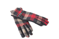 A pair of warm gloves women. On a white background Royalty Free Stock Photo