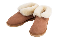 Pair of warm slippers home Stock Photos