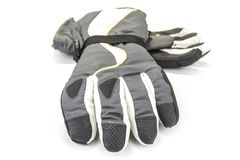 Pair of warm winter gloves on the white. stock photo