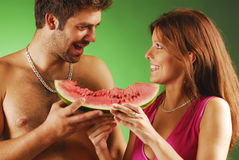 Pair with a watermellon Stock Images