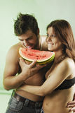 Pair with a watermelon Royalty Free Stock Photography