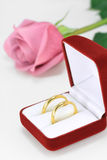Pair of wedding rings. A pair of wedding rings and a pink rose Royalty Free Stock Images