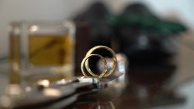 Pair of wedding rings. For bride and groom stock footage