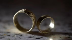 Pair of wedding rings. For bride and groom stock video footage