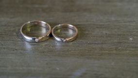 Pair of wedding rings. With diamonds stock video footage
