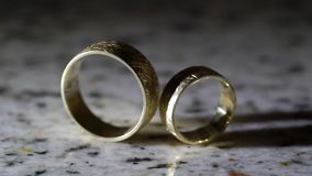 Pair of wedding rings. For bride and groom stock video