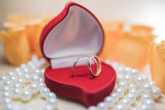 A pair of wedding rings in a red gift box Stock Photos