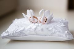 A pair of wedding rings on a white pillow royalty free stock images