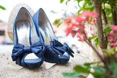 Pair of wedding shoes. Pair of fashionable blue wedding shoes with flowers in the background Stock Image