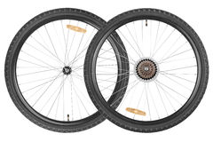 Pair wheels for mountain bike Stock Images