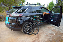 Sky Team Car And Wheels La Vuelta España. A pair of wheels and support crew taking it easy in La Vuelta España stage 9 2017 Royalty Free Stock Image