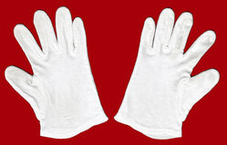Pair of white cotton gloves Royalty Free Stock Images