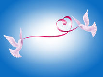 Pair of doves with heart Royalty Free Stock Image