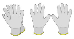 Pair of white fabric working gloves. Color vector illustration  on white Royalty Free Stock Image