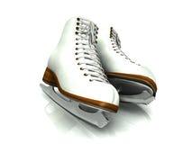 A pair of white figure skates. A pair of white figure skates on white background Stock Photos