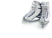 Pair of white figure skates Stock Photos