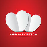 Pair white hearts, Happy Valentines Day card. Stock Images