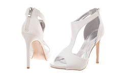 Pair of white high heel woman shoes Royalty Free Stock Images