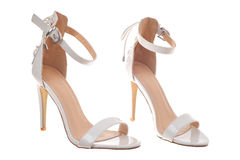 Pair of white high heel woman shoes Royalty Free Stock Photos
