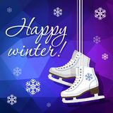 Pair of white Ice skates. Figure skates. Women`s ice skates hanging on the laces. Vector illustration background. Royalty Free Stock Image
