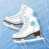 Pair of white Ice skates. Figure skates. Women`s ice skates. Texture of ice surface. Vector illustration background. Stock Photo