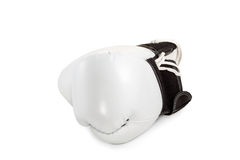 Pair of white leather boxing gloves Royalty Free Stock Images