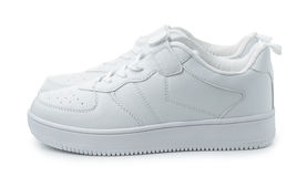Pair of white leather sport shoes Stock Image