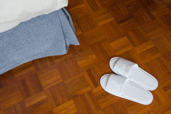 Pair of white slippers Royalty Free Stock Photography