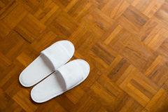 Pair of white slippers Stock Image
