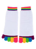 Pair of white socks with colored fingers Stock Images