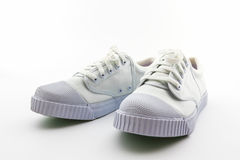 Pair of white sport shoes. Royalty Free Stock Photo