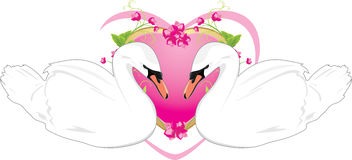 Pair of white swans and floral heart Stock Photography