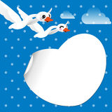 Pair of white swans flying in the sky Stock Photography