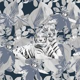 A pair of white tigers and flowers Royalty Free Stock Image