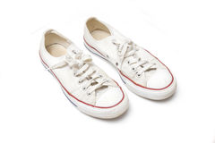 Pair of white training shoes Stock Photography