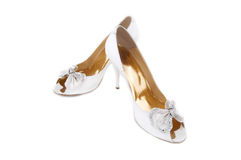 Pair of white wedding shoes Royalty Free Stock Photo