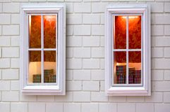 Pair of white window displaying some gift Stock Photo