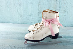 Pair of white women's ice skates Stock Photo