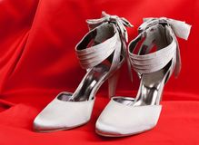 Pair of white women's shoes Royalty Free Stock Photo