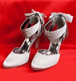 Pair of white women's shoes Stock Images
