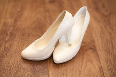 Pair of white women's shoes Stock Photography